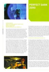 Der Perfect Dark Zero Test gibt einen Eindruck vom Layout des Magazins. Nur das Grün ist einmal mehr dem Themenschwerpunkt XBox 360 geschuldet.