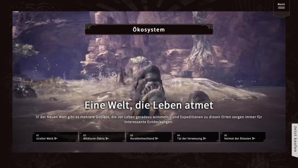 monsterhunterworld.com, Screenshot vom 19. März 2019, ©2019 Capcom