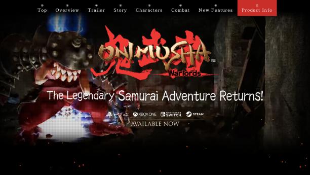 onimusha2001.com, Screenshot vom 19. März 2019, ©2019 Capcom