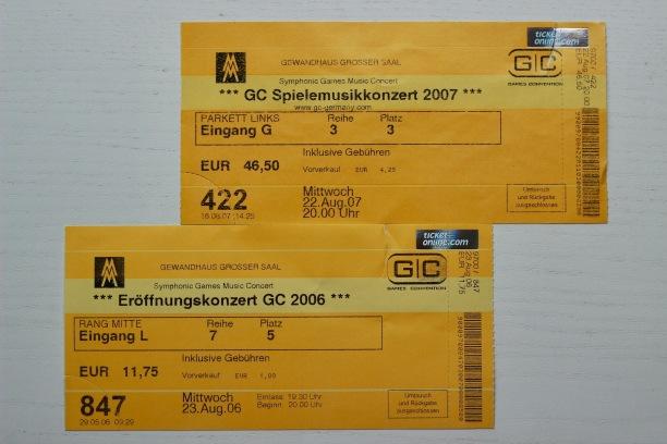Die Karten der letzten beiden Konzerte. Mit etwas Glück finde ich die anderen auch noch wieder.