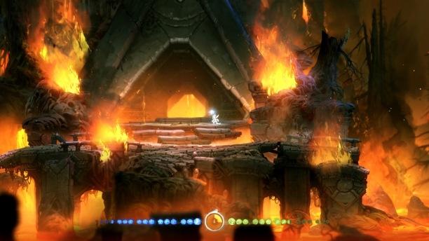 Der Horuberg erwartet uns mit bedrohlicher Feuer- und Lavasymbolik. (Quelle: eigener Screenshot)