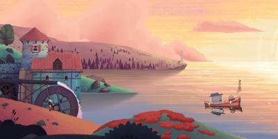 Old Man's Journey: Titelbild. Der alte Mann steht an einem See und beobachtet den Sonnenuntergang.