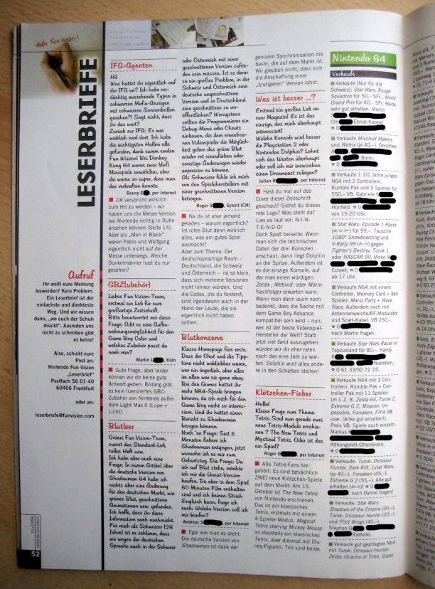 Leserbriefseite und Kleinanzeigen in NFV 11-12/1999 (November/Dezember)