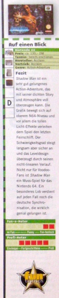 """Wertungskasten zu Shadow Man in NFV 11-12/1999 (November/Dezember). Für die Höchstwertung gibt's das Gütesiegel """"fun-tastisch""""."""