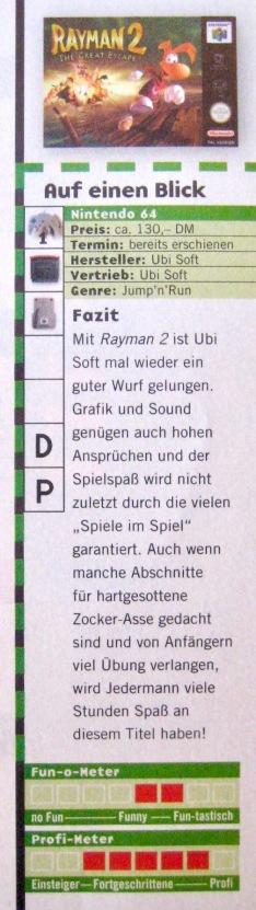 Wertungskasten zu Rayman 2 in NFV 11-12/1999 (November/Dezember)