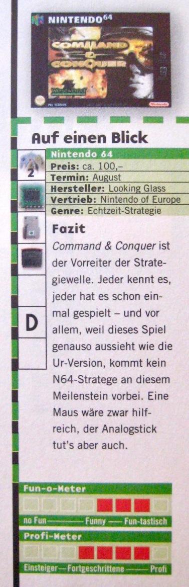 Wertungskasten zu Command & Conquer in NFV 7-8/1999 (Juli/August)