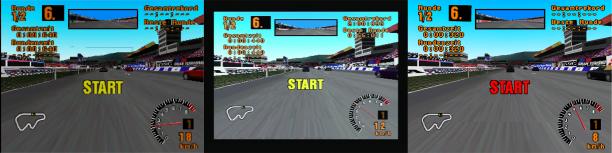"""Vergleich mit """"Gran Turismo"""" (v.l.n.r.): bleem! 1.4, Sony PlayStation SCPH-9002 (über einen SCART-zu-HDMI-Converter), ePSXe 2.0.5"""