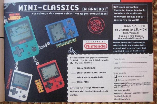 Die erste Generation der Nintendo Mini-Classics ließ sich direkt beim Pro Verlag bestellen.